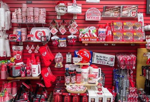 Trent Nelson  |  The Salt Lake Tribune Some of the University of Utah branded items for sale at the universitys bookstore in Salt Lake City, Utah, Wednesday, September 5, 2012.